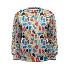 Funny Cute Colorful Cats Pattern Women s Sweatshirt