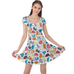 Funny Cute Colorful Cats Pattern Cap Sleeve Dress