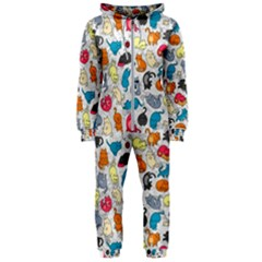 Funny Cute Colorful Cats Pattern Hooded Jumpsuit (ladies)