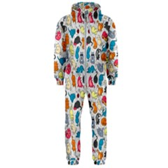Funny Cute Colorful Cats Pattern Hooded Jumpsuit (men)