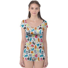 Funny Cute Colorful Cats Pattern Boyleg Leotard