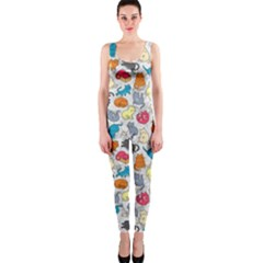 Funny Cute Colorful Cats Pattern One Piece Catsuit