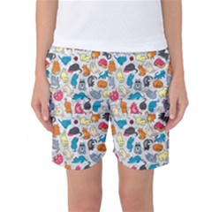 Funny Cute Colorful Cats Pattern Women s Basketball Shorts