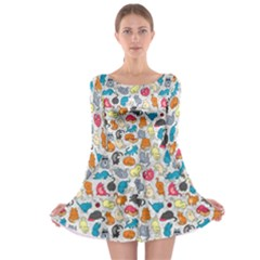 Funny Cute Colorful Cats Pattern Long Sleeve Skater Dress