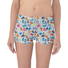 Funny Cute Colorful Cats Pattern Boyleg Bikini Bottoms