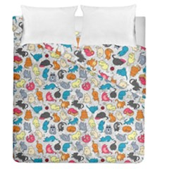 Funny Cute Colorful Cats Pattern Duvet Cover Double Side (queen Size)