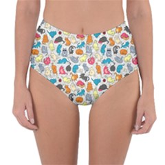 Funny Cute Colorful Cats Pattern Reversible High Waist Bikini Bottoms