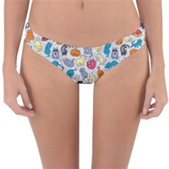 Funny Cute Colorful Cats Pattern Reversible Hipster Bikini Bottoms