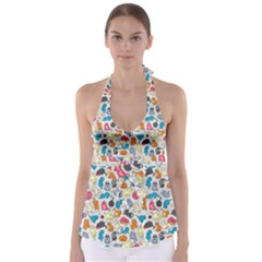 Funny Cute Colorful Cats Pattern Babydoll Tankini Top
