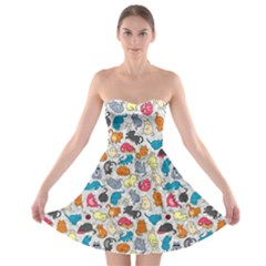 Funny Cute Colorful Cats Pattern Strapless Bra Top Dress