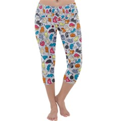 Funny Cute Colorful Cats Pattern Capri Yoga Leggings