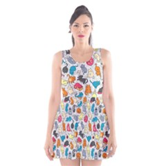 Funny Cute Colorful Cats Pattern Scoop Neck Skater Dress