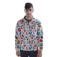 Funny Cute Colorful Cats Pattern Windbreaker (men)