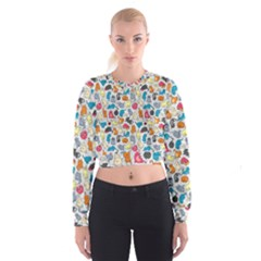 Funny Cute Colorful Cats Pattern Cropped Sweatshirt