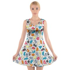 Funny Cute Colorful Cats Pattern V Neck Sleeveless Dress