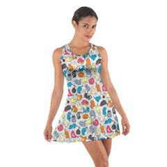 Funny Cute Colorful Cats Pattern Cotton Racerback Dress