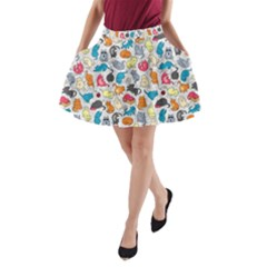 Funny Cute Colorful Cats Pattern A Line Pocket Skirt