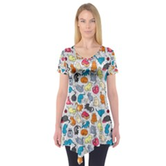 Funny Cute Colorful Cats Pattern Short Sleeve Tunic
