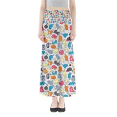 Funny Cute Colorful Cats Pattern Full Length Maxi Skirt