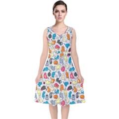Funny Cute Colorful Cats Pattern V Neck Midi Sleeveless Dress