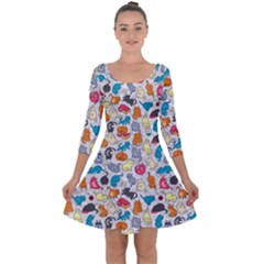 Funny Cute Colorful Cats Pattern Quarter Sleeve Skater Dress
