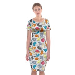 Funny Cute Colorful Cats Pattern Classic Short Sleeve Midi Dress