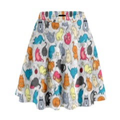 Funny Cute Colorful Cats Pattern High Waist Skirt