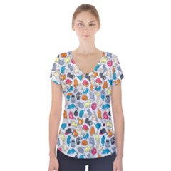 Funny Cute Colorful Cats Pattern Short Sleeve Front Detail Top