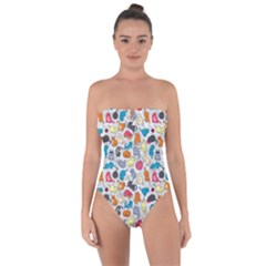 Funny Cute Colorful Cats Pattern Tie Back One Piece Swimsuit