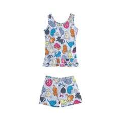 Funny Cute Colorful Cats Pattern Kid s Boyleg Swimsuit