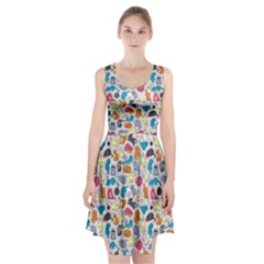 Funny Cute Colorful Cats Pattern Racerback Midi Dress
