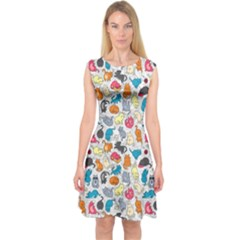 Funny Cute Colorful Cats Pattern Capsleeve Midi Dress