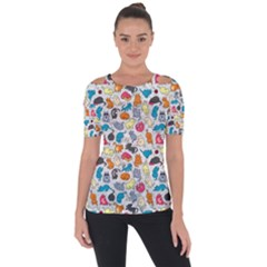 Funny Cute Colorful Cats Pattern Short Sleeve Top