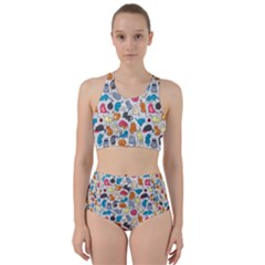 Funny Cute Colorful Cats Pattern Racer Back Bikini Set