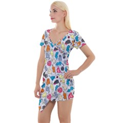 Funny Cute Colorful Cats Pattern Short Sleeve Asymmetric Mini Dress