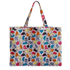 Funny Cute Colorful Cats Pattern Medium Tote Bag
