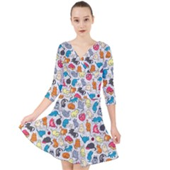Funny Cute Colorful Cats Pattern Quarter Sleeve Front Wrap Dress
