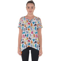 Funny Cute Colorful Cats Pattern Cut Out Side Drop Tee