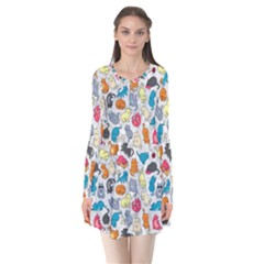 Funny Cute Colorful Cats Pattern Long Sleeve V Neck Flare Dress