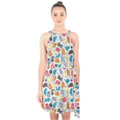 Funny Cute Colorful Cats Pattern Halter Collar Waist Tie Chiffon Dress