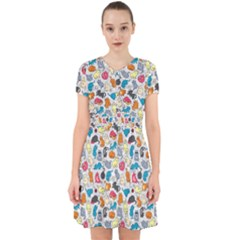 Funny Cute Colorful Cats Pattern Adorable In Chiffon Dress