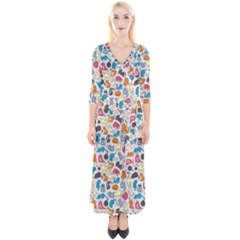 Funny Cute Colorful Cats Pattern Quarter Sleeve Wrap Maxi Dress