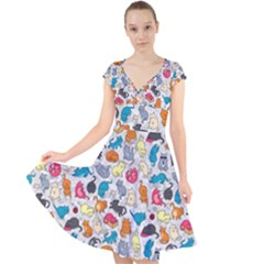 Funny Cute Colorful Cats Pattern Cap Sleeve Front Wrap Midi Dress