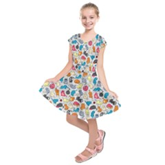 Funny Cute Colorful Cats Pattern Kids  Short Sleeve Dress