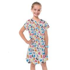 Funny Cute Colorful Cats Pattern Kids  Drop Waist Dress