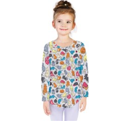 Funny Cute Colorful Cats Pattern Kids  Long Sleeve Tee