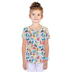 Funny Cute Colorful Cats Pattern Kids  One Piece Tee