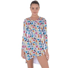 Funny Cute Colorful Cats Pattern Asymmetric Cut Out Shift Dress