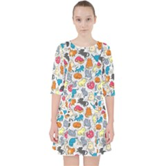 Funny Cute Colorful Cats Pattern Pocket Dress