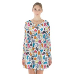 Funny Cute Colorful Cats Pattern Long Sleeve Velvet V Neck Dress
